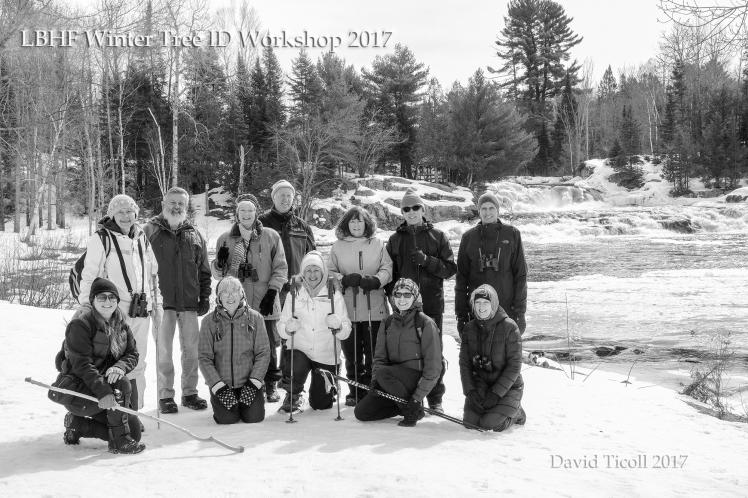 David Ticoll Group shot Marsh's Falls Tree ID snowshoe 2017 20170318-XP2A7608 wtm